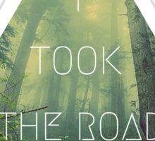 road less traveled nature explore travel redwood book wanderlust print Sticker