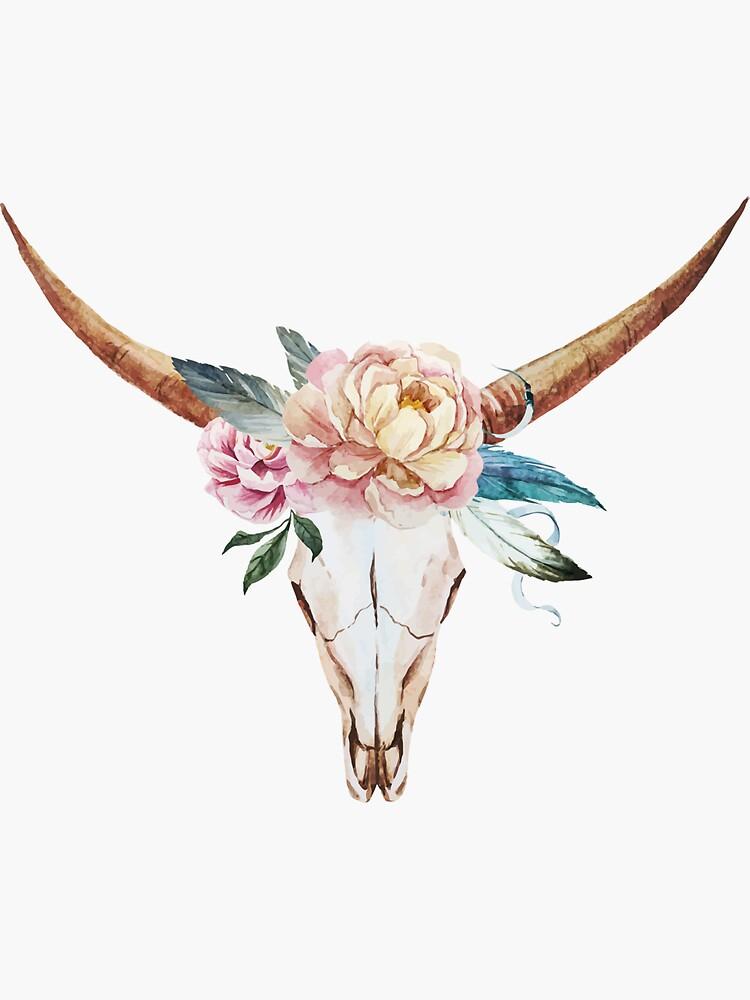 Cráneo con flores de acuarela de joellis