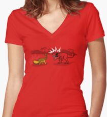 The Plight of the Tacosaurus Women's Fitted V-Neck T-Shirt