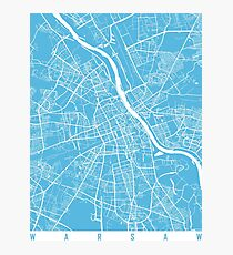 Warsaw map blue Photographic Print