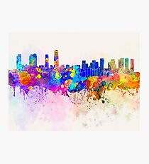 Incheon skyline in watercolor background Photographic Print