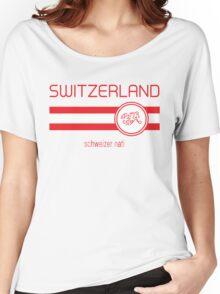 Euro 2016 Football - Switzerland (Away White) Women's Relaxed Fit T-Shirt