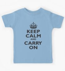 KEEP CALM, Keep Calm & Carry On, Be British! Blighty, UK, United Kingdom, Black on white Kids Clothes