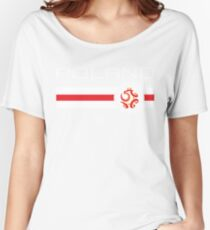 Euro 2016 Football - Poland (Away Red) Women's Relaxed Fit T-Shirt
