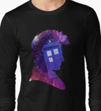The Tenth Doctor Silhouette with TARDIS Long Sleeve T-Shirt