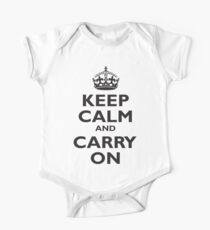 KEEP CALM, & CARRY ON, BE BRITISH, BLIGHTY, UK, WWII, PROPAGANDA, IN BLACK One Piece - Short Sleeve