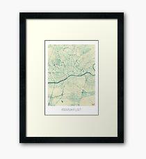 Frankfurt Map Blue Vintage Framed Print