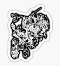 Apocalypse, Four horsemen of the Apocalypse, 4 Horsemen, Durer, Biblical, Bible, Vengeance, White on Black Sticker