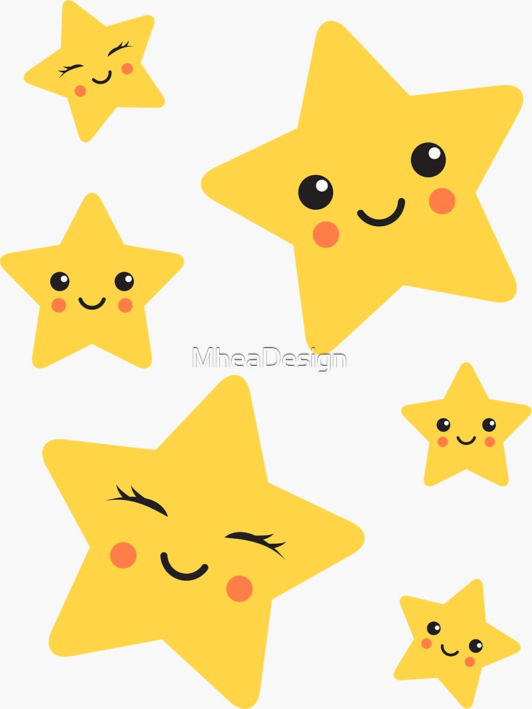Cute kawaii stars sticker collection by MheaDesign