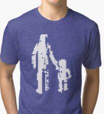 1 bit pixel pedestrians (white) Tri-blend T-Shirt