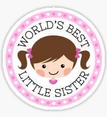 World's best little sister sticker, cartoon girl with brown hair Sticker