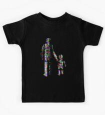 8 bit pixel pedestrians (color on black) Kids Tee