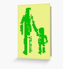1 bit pixel pedestrians (green) Greeting Card