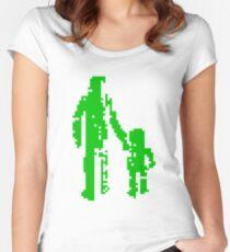 1 bit pixel pedestrians (green) Women's Fitted Scoop T-Shirt