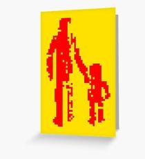 1 bit pixel pedestrians (red) Greeting Card