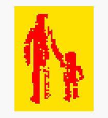 1 bit pixel pedestrians (red) Photographic Print