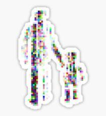 8 bit pixel pedestrians (color on white) Sticker