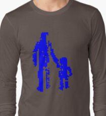 1 bit pixel pedestrians (blue) Long Sleeve T-Shirt