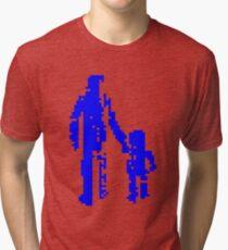 1 bit pixel pedestrians (blue) Tri-blend T-Shirt