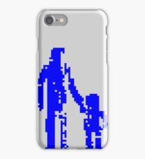 1 bit pixel pedestrians (blue) iPhone Case/Skin