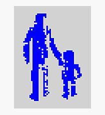 1 bit pixel pedestrians (blue) Photographic Print