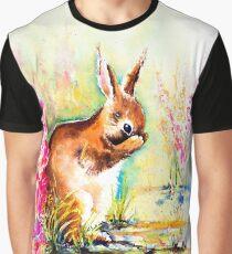 Little Shy Rabbit Graphic T-Shirt