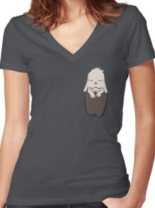 Akamaru in your pocket! Women's Fitted V-Neck T-Shirt
