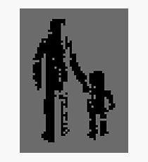1 bit pixel pedestrians (black) Photographic Print