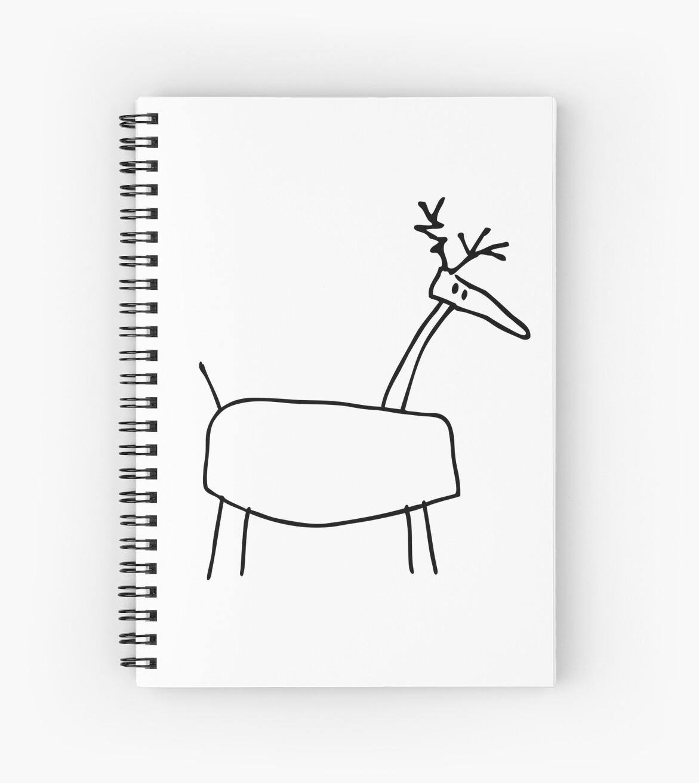 poro the reindeer outline black spiral notebooks by pekka nikrus