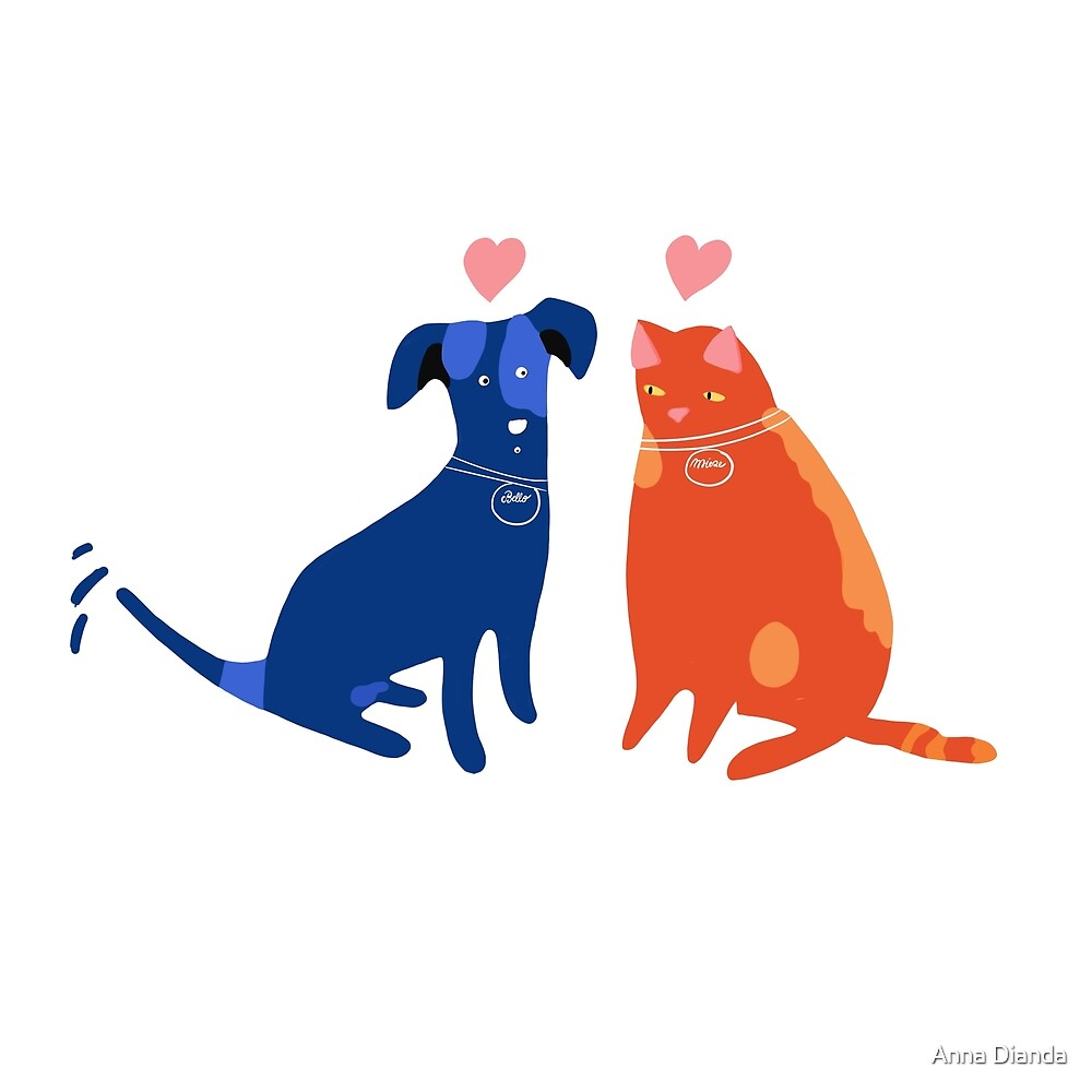 Bello and Mieze. Dog and cat in love. by Anna Dianda