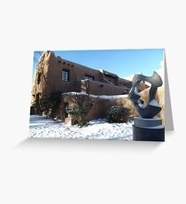Sculpture, February, Adobe Architecture, Snow View, Santa Fe, New Mexico   Greeting Card