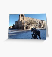 Sculpture, January, Adobe Architecture, Snow View, Santa Fe, New Mexico   Greeting Card