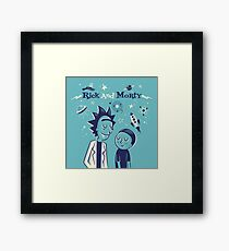 Retro Rick and morty Framed Print
