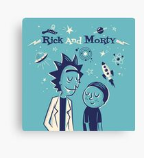 Retro Rick and morty Canvas Print