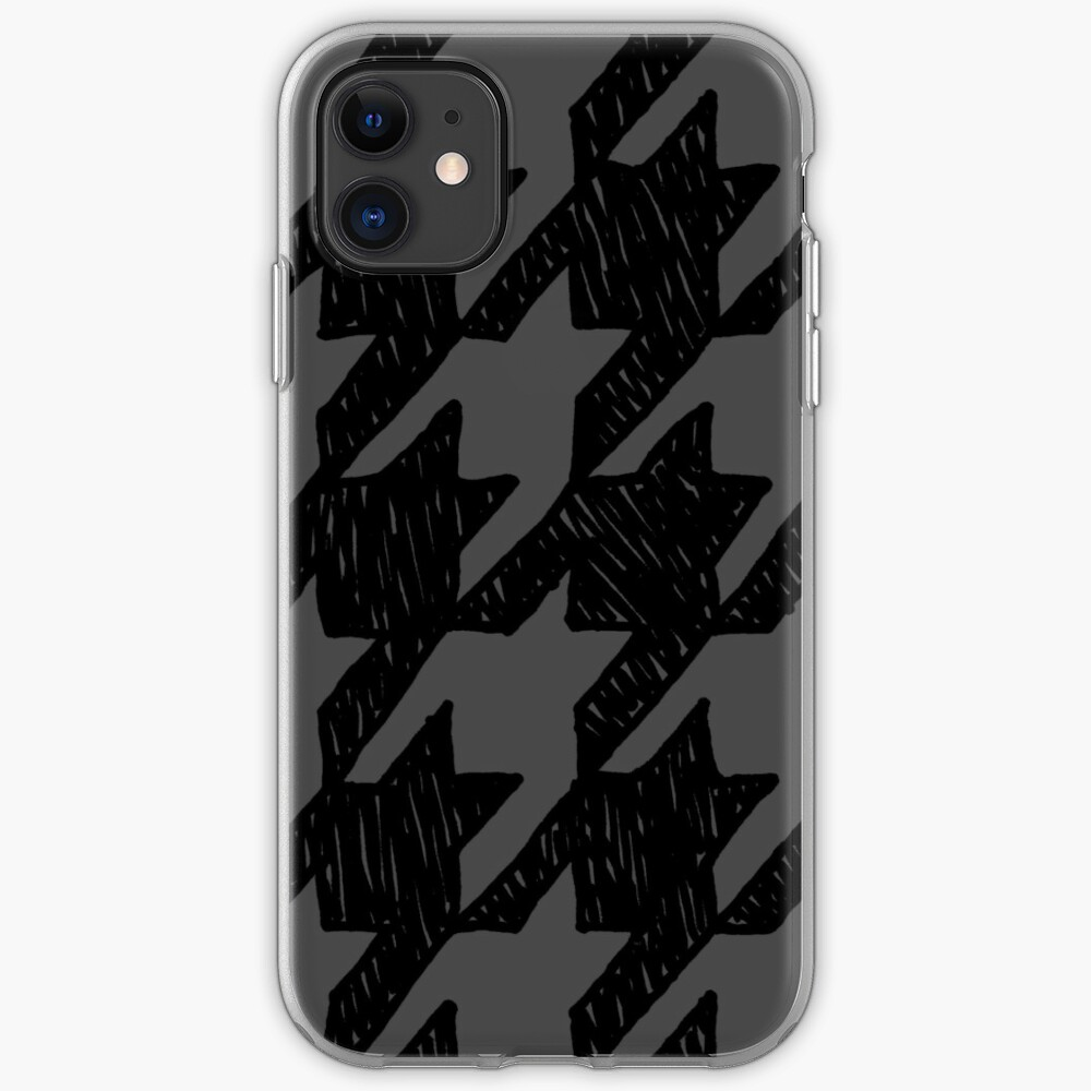 Scribble Houndstooth - Black and Gray iPhone Soft Case