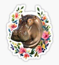 Hippo in a flower wreath Sticker