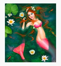 beautiful Fantasy mermaid with lilies Photographic Print