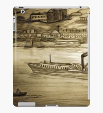A digital painting of my pencil drawing of an Old Scene on the Danube in Romania iPad Case/Skin