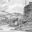 A pencil drawing of Dartmouth and Kingswear Castles, Devon, England by Dennis Melling