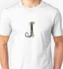 Monogram J with Floral Wreath Unisex T-Shirt
