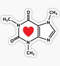 Caffeine molecule with red love heart Sticker
