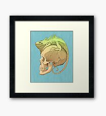 colorful illustration with iguana and skull Framed Print