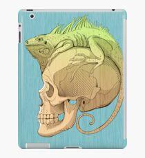 Vinilo o funda para iPad colorida ilustración con iguana y cráneo