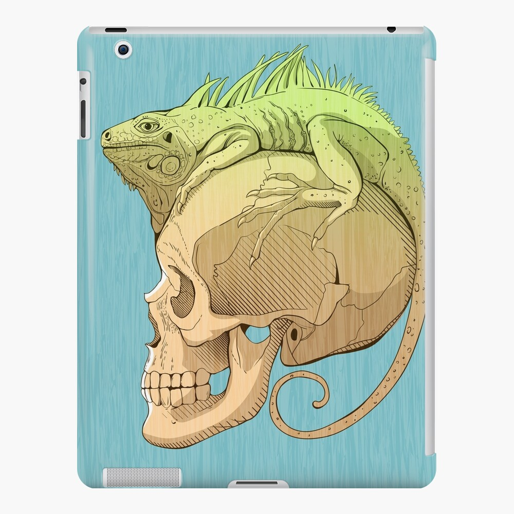 colorful illustration with iguana and skull iPad Case & Skin