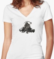 Death Skeleton  Women's Fitted V-Neck T-Shirt