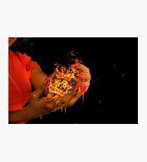 African model with a ball of fire in her hands.  Photographic Print