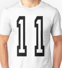 11, TEAM SPORTS, NUMBER 11, Eleven, Eleventh, Competition Slim Fit T-Shirt