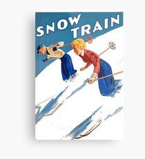 Vintage Christmas Art - Couple Skiing Metal Print