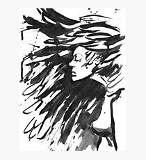 Young goth woman. Dark Queen . Fantasy black hair. Drawn ink Photographic Print