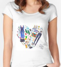 fashion illustration. heart of clothes. painted in watercolor Women's Fitted Scoop T-Shirt